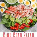 This grilled King Crab salad is served with a creamy avocado dressing. It's delicious at home or on a picnic, and is a light, refreshing, and healthy seafood salad!
