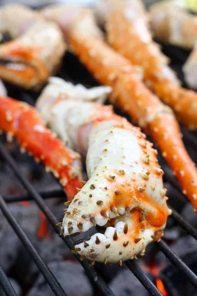 King Crab Legs on a Charcoal Grill