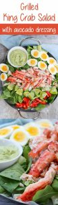 #ad This Grilled King Crab Salad with Creamy Avocado is delicious at home or at a picnic, and is a light, refreshing, and healthy seafood salad!