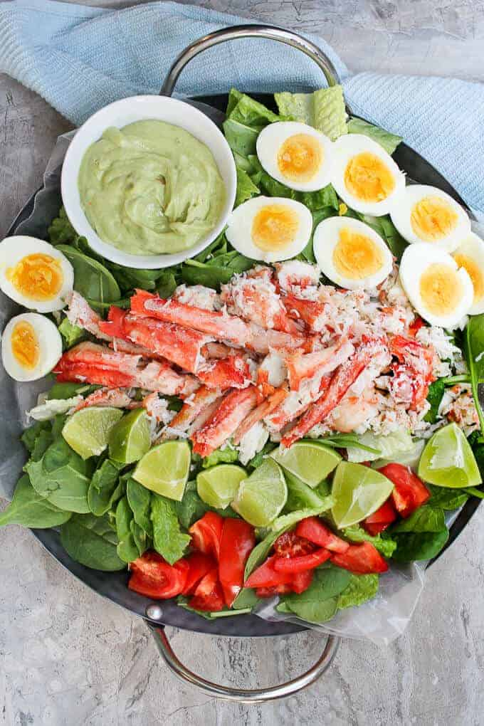 Grilled King Crab Salad with Creamy Avocado