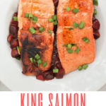 This grilled King salmon recipe features lucious King salmon cooked on a grill and served with a fresh, homemade plum sauce.