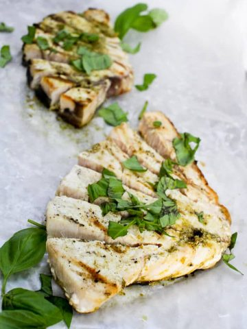 This Basil Pesto Grilled Swordfish is a quick, easy, and flavor-packed main course that's perfect for barbecues and cookouts!