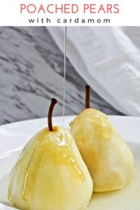 These Poached Pears with Cardamom are a light, delicious dessert of ripe pears poached in a spice-infused white wine syrup.
