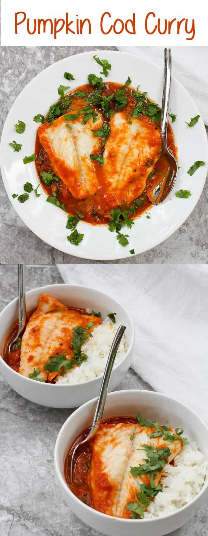 {ad} This easy Cod Curry with Pumpkin is made with a spiced pumpkin-tomato sauce, fresh spinach, and gently poached cod.