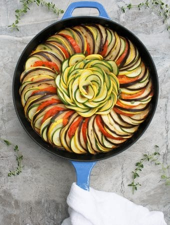 ratatouille tian in a serving dish