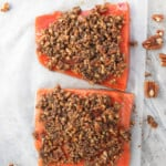 Spread Pecan Mixture on Salmon