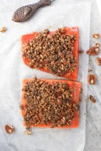 Spread Pecan Mixture on Salmon