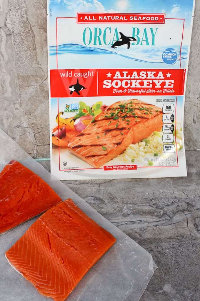 Sockeye Salmon Fillets with Orca Bay Packaging