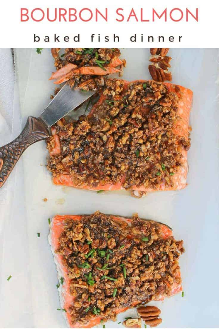 #ad This oven baked Bourbon Salmon is an easy seafood (salmon fillet) recipe that's topped with pecans and a maple bourbon glaze.  #Salmon #Seafood #Bourbon #pescetarian #pescatarian