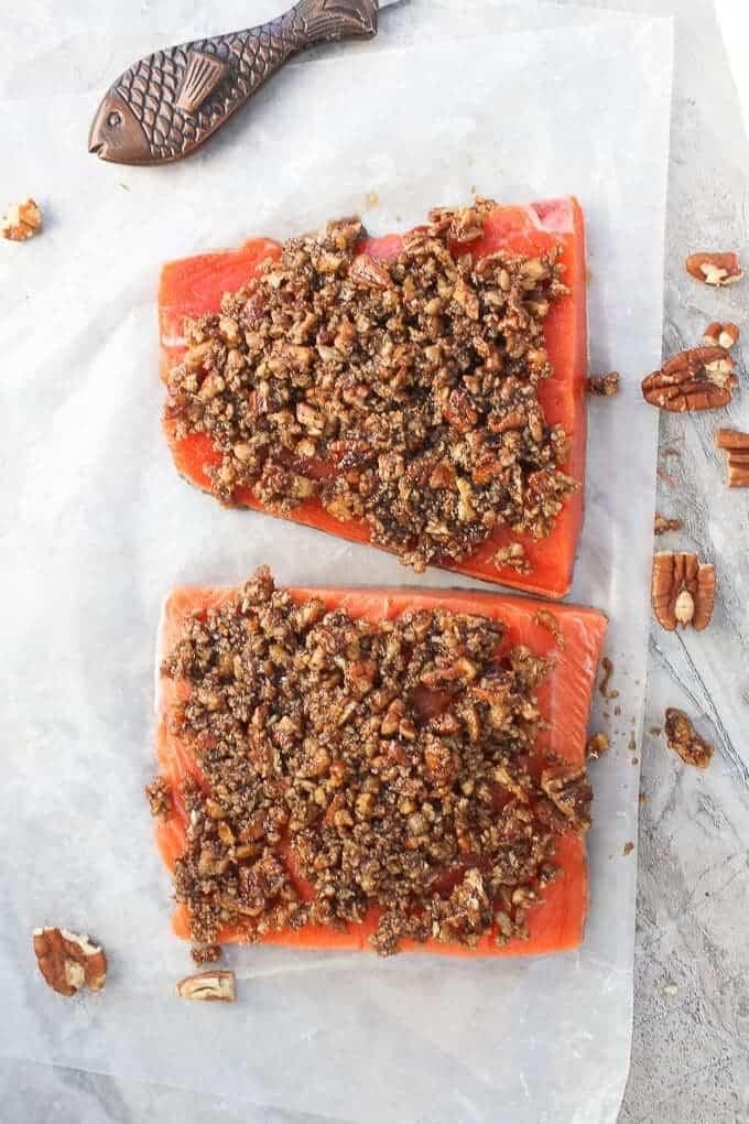 Sockeye Salmon Fillets covered in Bourbon Pecan Topping, Before Baking