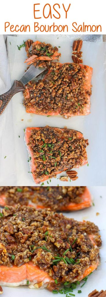 #ad This Baked Pecan Bourbon Salmon is topped with pecans and a maple bourbon sauce, and then baked to juicy, flaky perfection.