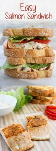 These Easy Seared Salmon Sandwiches are made with seared pink salmon and a quick Dijon yogurt sauce, and are ready in 15 minutes!
