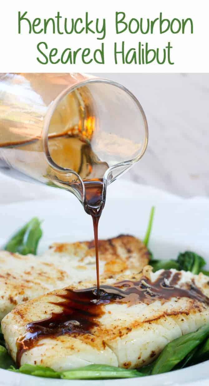 This Kentucky Bourbon Seared Halibut is Date Night at its best! It features delicious, meaty halibut drizzled with a quick bourbon sauce, served over a bed of wilted spinach. #DateNight #Seafood #Halibut #Bourbon