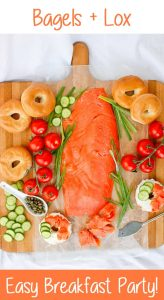 This Bagels and Lox breakfast spread is quick and easy, and perfect for both busy mornings and brunch with friends and family. #Lox #Brunch #Breakfast #PartyFood #BagelsandLox