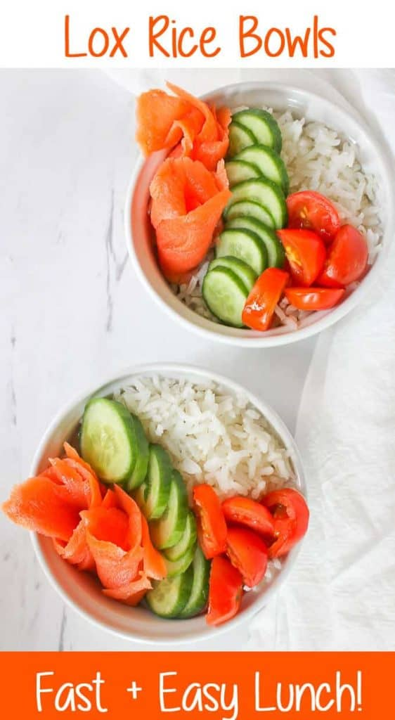 Lox Recipe! This quick and easy Lox Rice Bowl is made with cold smoked salmon and rice, and is perfect for lunch or light dinner.