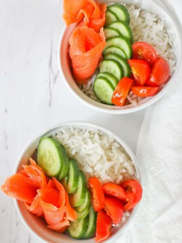 This quick and easy Lox Rice Bowl is made with cold smoked salmon and rice, and is perfect for lunch or light dinner.