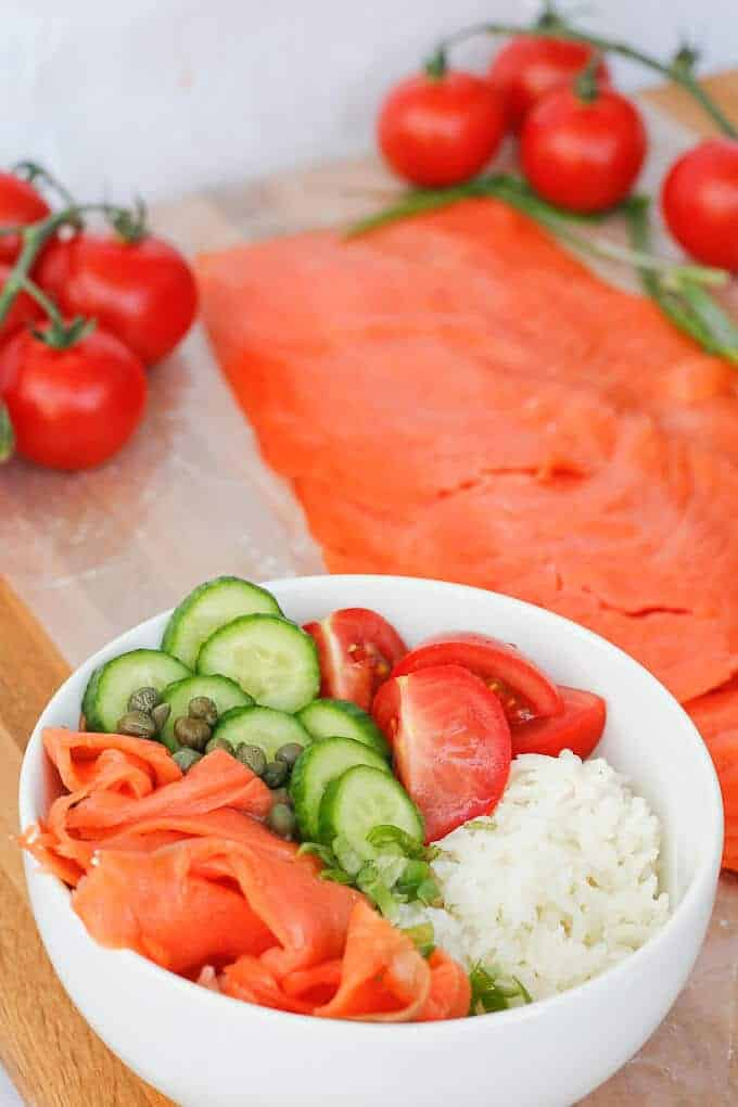 Lox Rice Bowl in front of a pound of lox