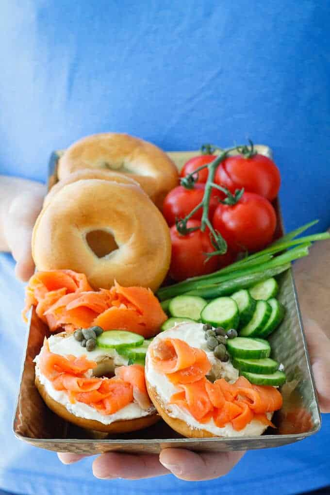 Bagels and Lox on a Small Serving Tray for Breakfast in Bed