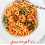 This scallop alfredo with pumpkin is made with creamy, delicious pumpkin and Parmesan pasta sauce, fettuccine noodles, and seared sea scallops.