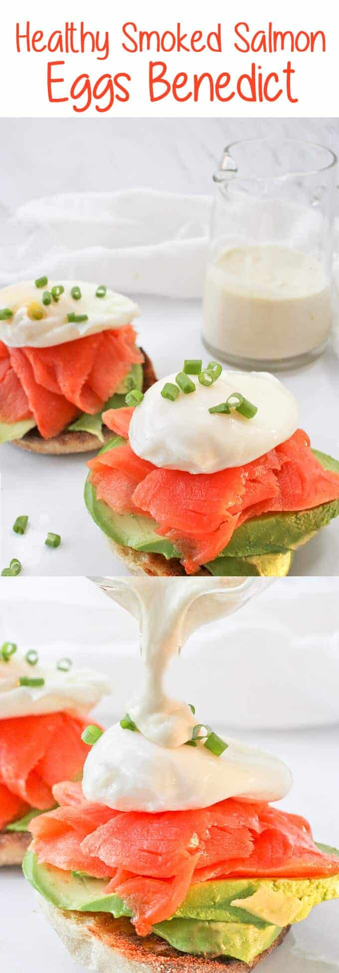 This Healthy Smoked Salmon Eggs Benedict is made with smoked salmon, poached eggs, and a creamy yogurt sauce, and is a lighter take on the breakfast classic!