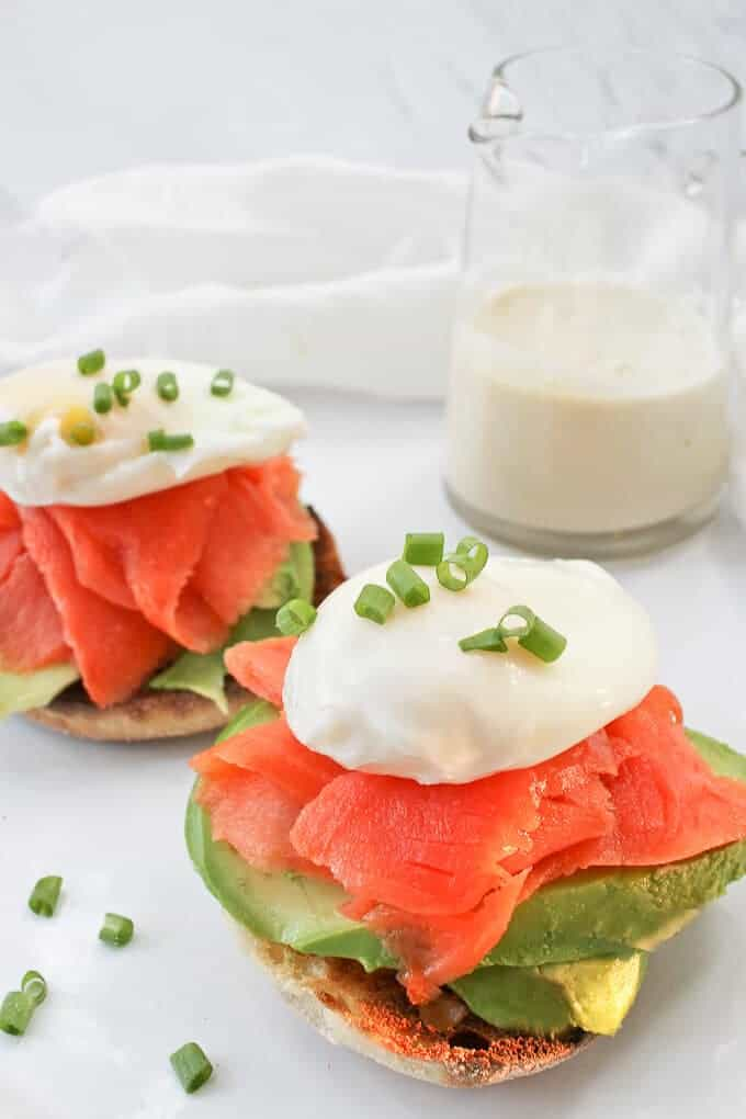 Healthy Smoked Salmon Eggs Benedict with the sauce on the side