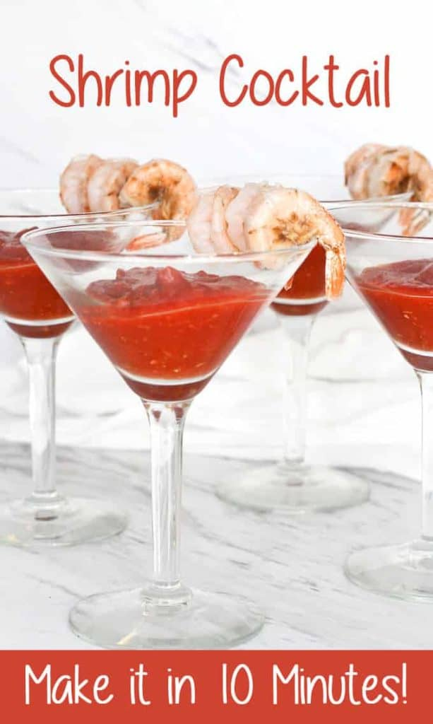 This Classic Shrimp Cocktail is ready in ten minutes, and is an easy appetizer for dinner or parties. #Shrimp #ShrimpCocktail #Appetizers #PartyFood #Seafood