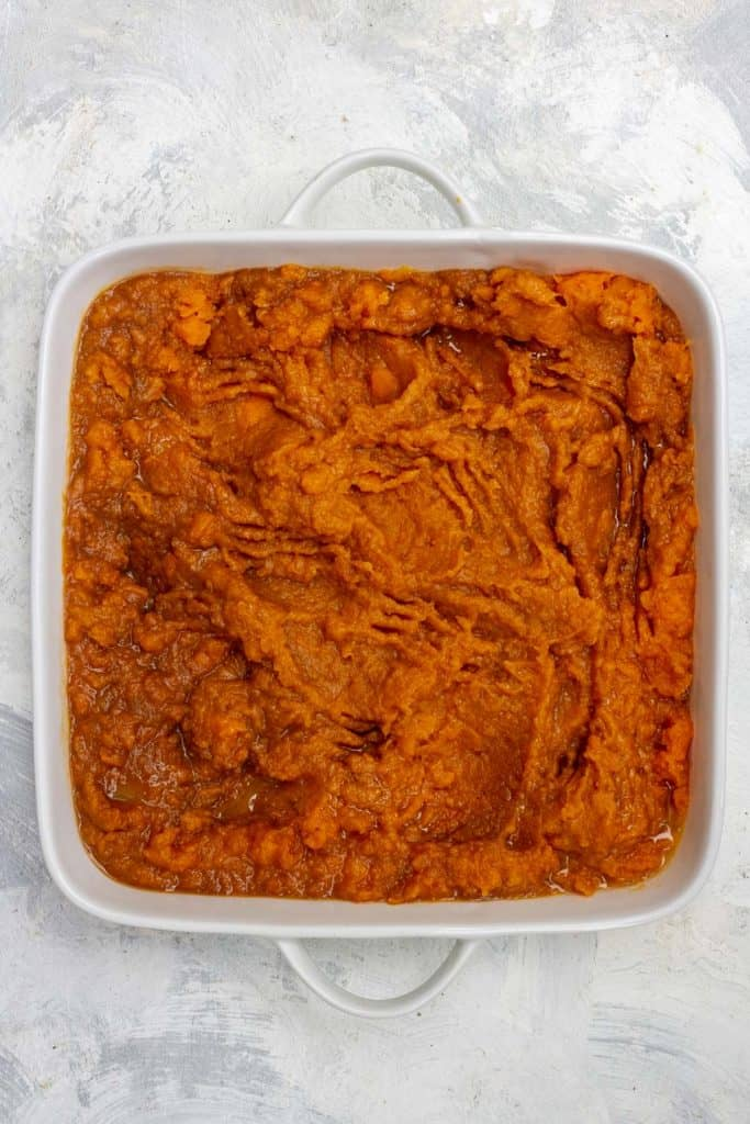 Add Mashed Sweet Potatoes to a Casserole Dish