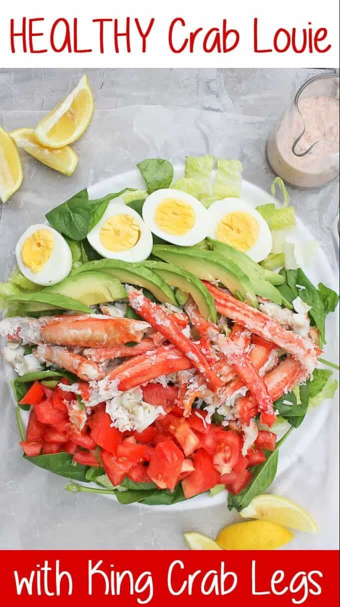{ad} This King Crab Louie Salad is a lighter version of the classic Crab Louie (or Crab Louis), and is topped with steamed king crab and a spicy yogurt dressing. #kingcrab #yogurt #seafood #crablouie