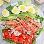 This King Crab Louie Salad is a lighter version of the classic Crab Louie, and is topped with steamed king crab and a spicy yogurt dressing.