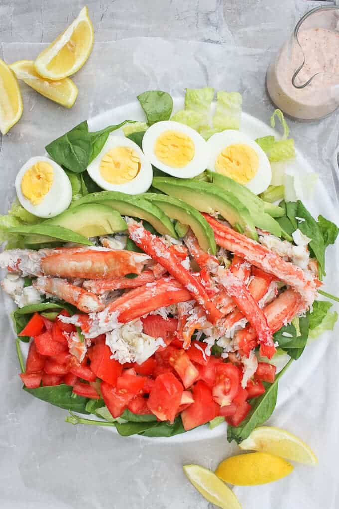 Crab Louie Salad with Yogurt Dressing, Assembled on a Serving Tray with Lemon Wedges