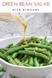 This vegetarian Green Bean Salad with Almonds is made with fresh green beans, almonds, and an quick homemade honey mustard dressing.  Serve it warm or cold for an easy side dish!