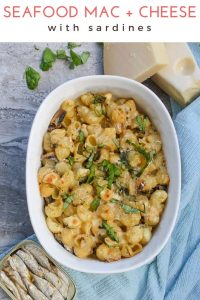 [ad] Seafood Macaroni and Cheese: This canned (tinned) sardine recipe is an easy baked mac and cheese with Jarlsberg and Swiss Cheese! . #Seafood @MacaroniAndCheese #Jalsberg #Sardines #SideDish