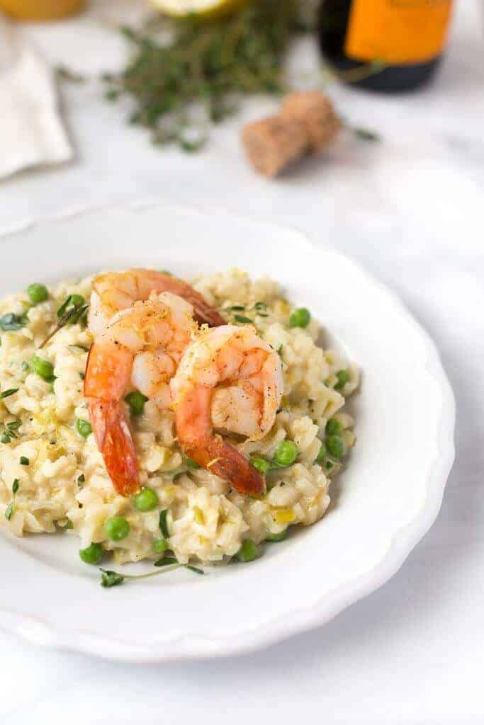 Champagne + Leek Risotto with Roasted Shrimp - from Striped Spatula
