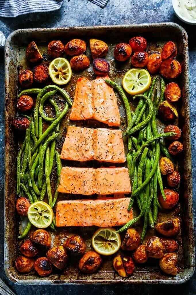 5 Ingredient Sheet Pan Salmon - from Platings + Pairings