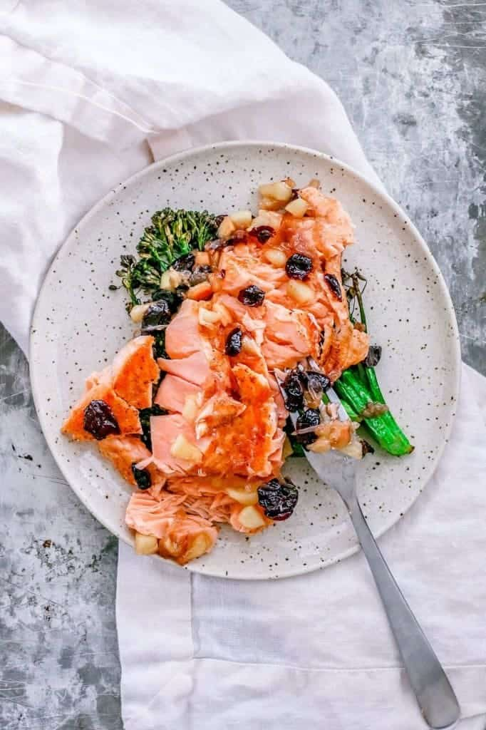 {King} Pan-Seared Salmon with Apple-Cranberry Sauce - from Killing Thyme