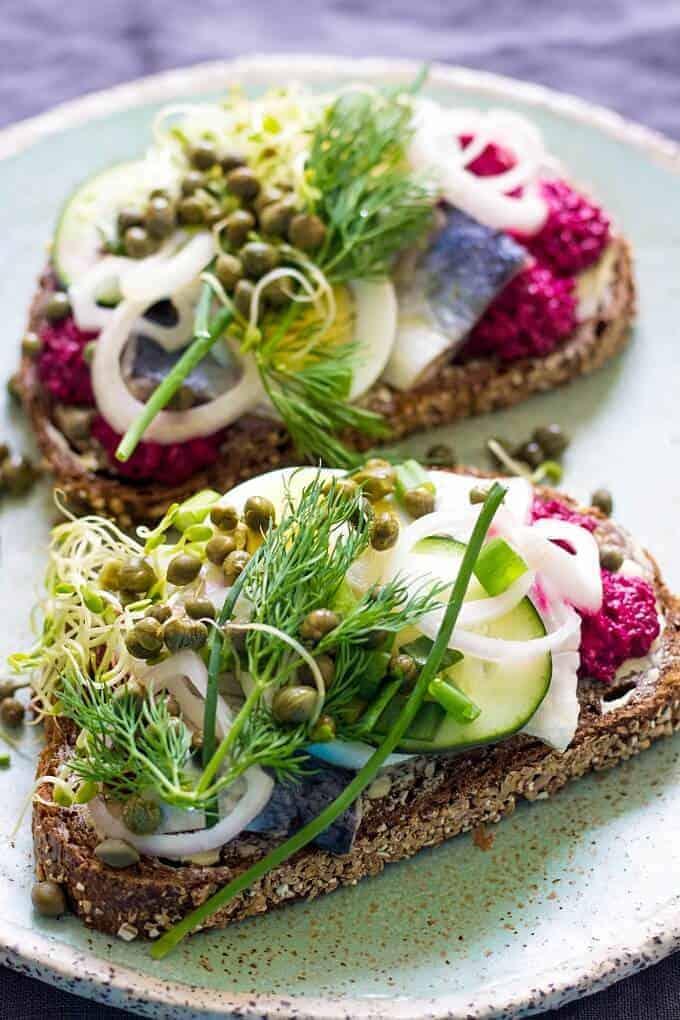 Herring Smørrebrød / Danish Sandwich - from Lavender + Macarons