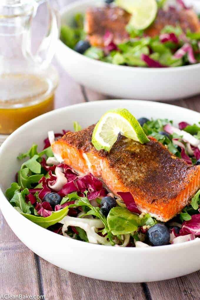 Jerk Salmon with Radicchio Blueberry Slaw - from A Clean Bake