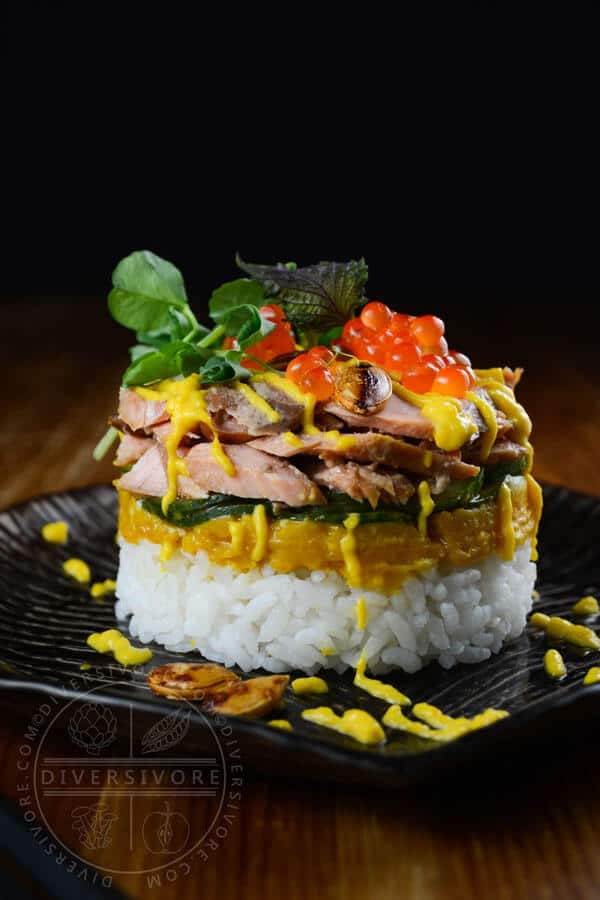 Keta Salmon Sushi Stacks