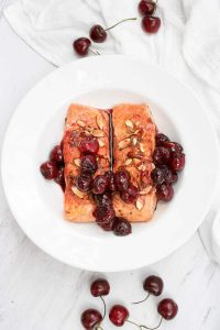 {King} Almond Cherry Seared Salmon
