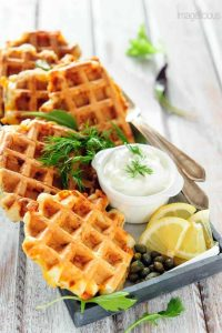How to Cook Salmon - Hot Smoked Salmon and Dill Waffles from Imagelicious