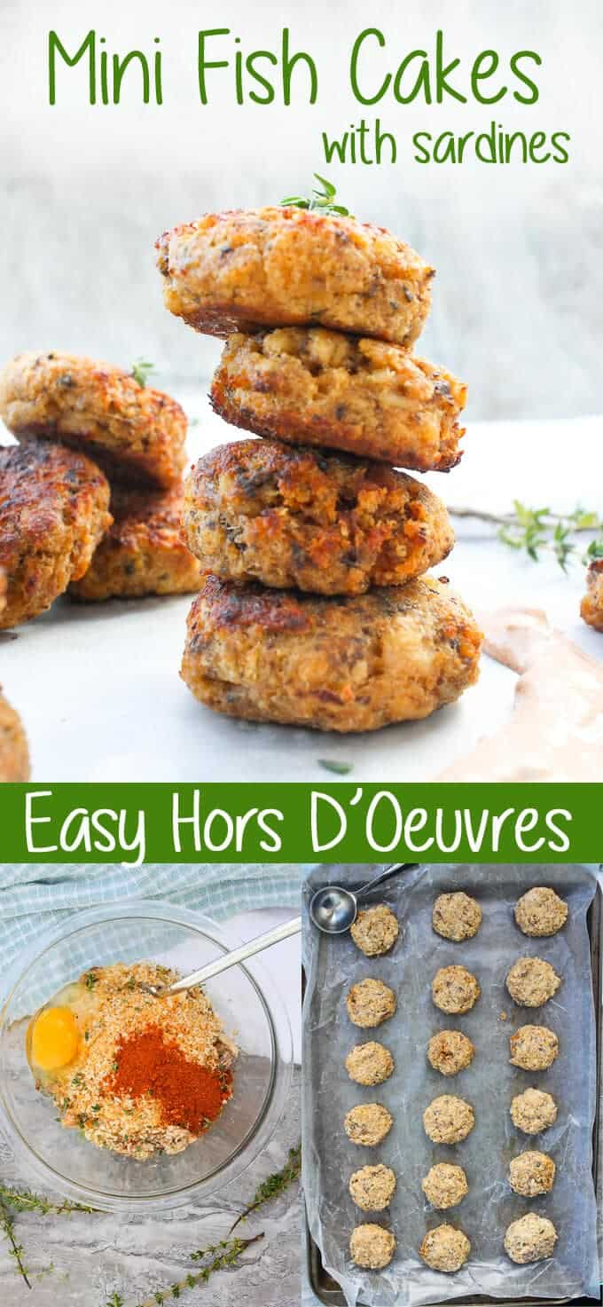 {ad} These mini Sardine Fish Cakes are served with a Spicy Yogurt Sauce, and are perfect to serve as Tapas or Hors D'Oeuvres.  Sardines | Fish Cakes | Recipe | Easy