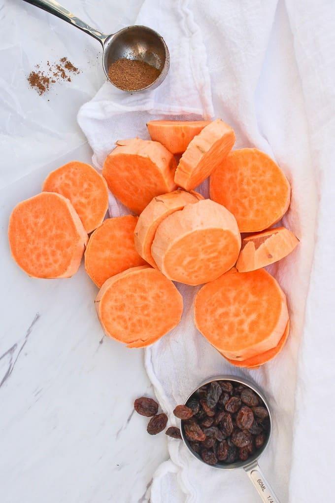 Sweet Potatoes, Raisins, and Garam Masala on a countertop