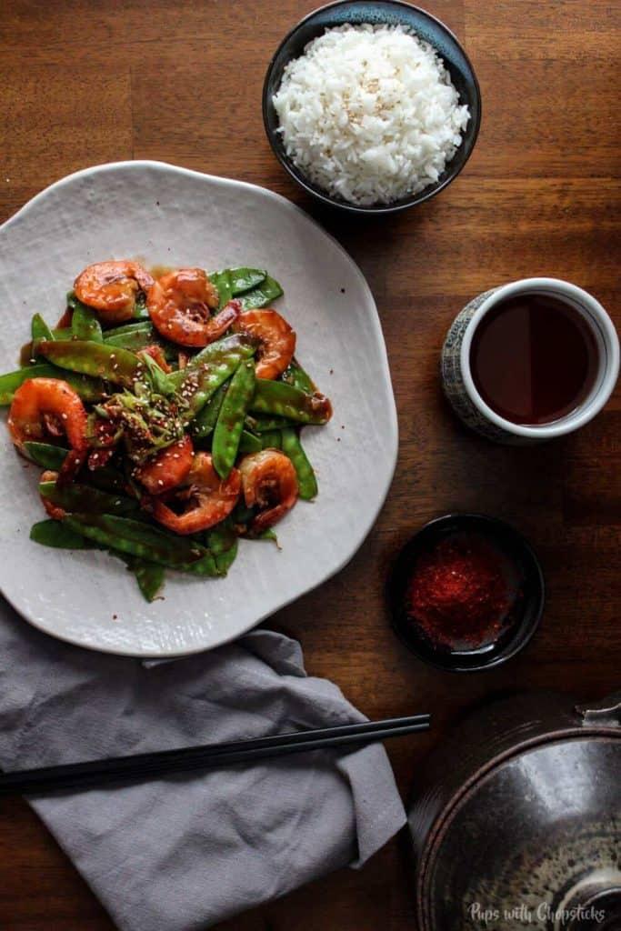 {Tiger Shrimp} Garlicky Shrimp with Snow Peas - from Pups with Chopsticks