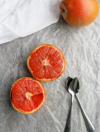 grapefruit breakfast on a countertop