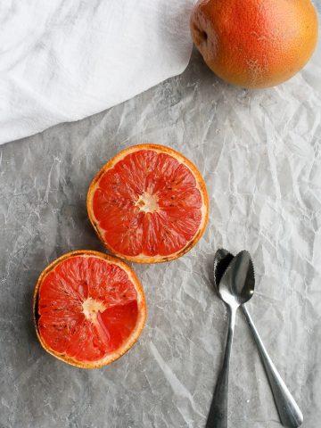 grapefruit breakfast on a countertop