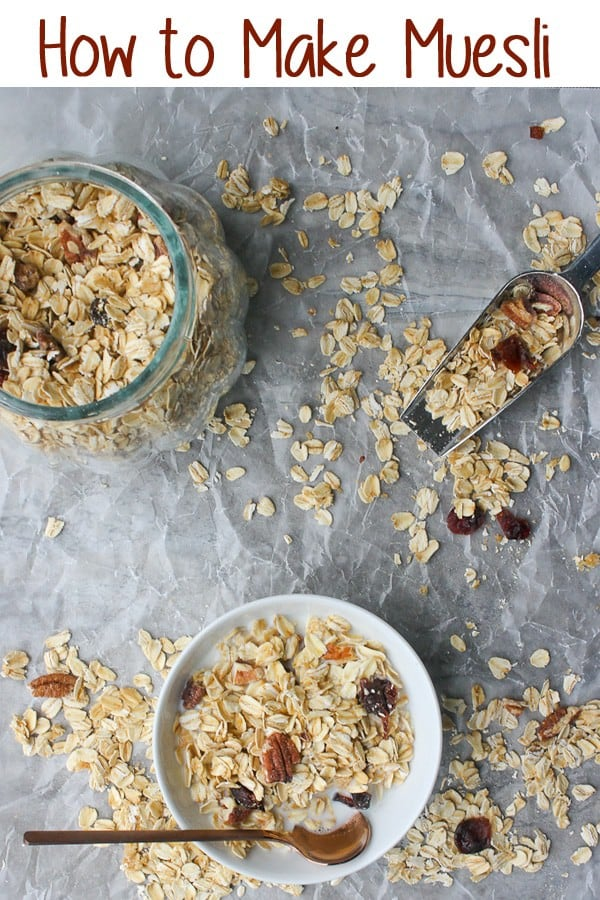 This easy muesli recipe walks you through making homemade breakfast cereal. It's gluten-free, vegan, quick, inexpensive, and delicious!