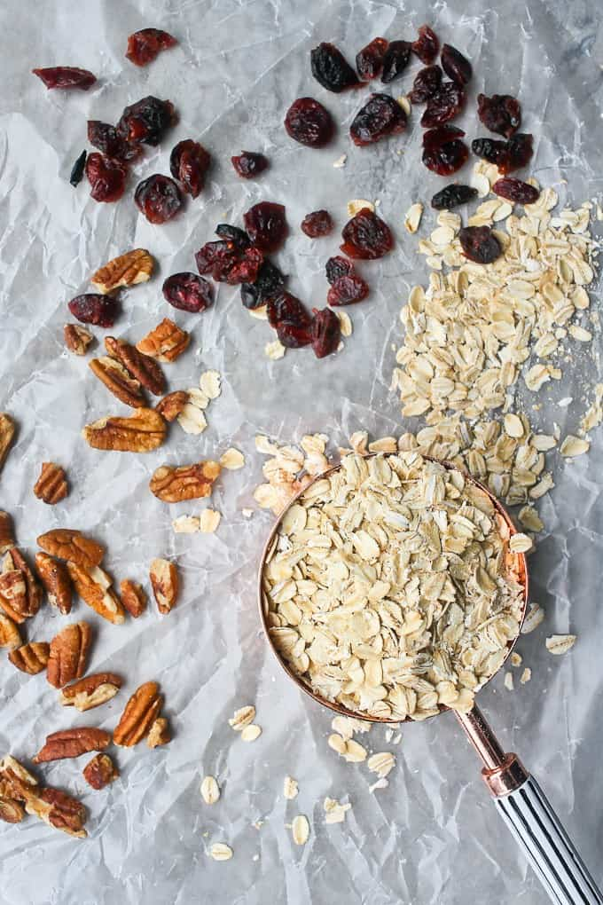 Rolled oats, pecans, and dried cranberries