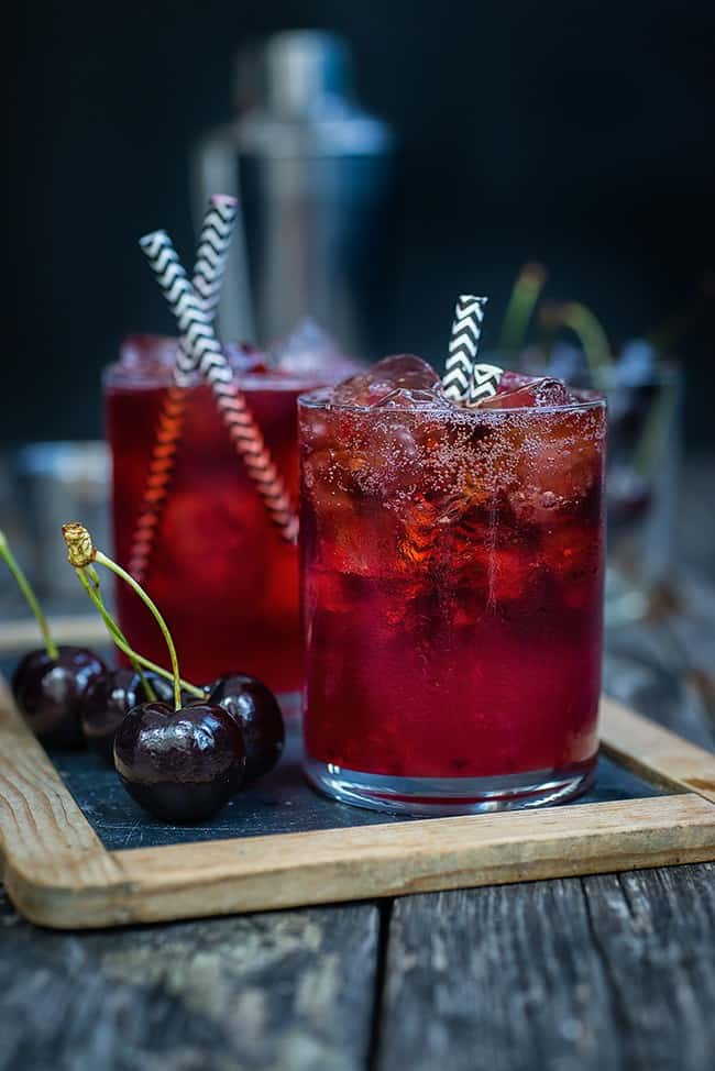 Black Cherry Bourbon Cola Smash - from Super Golden Bakes
