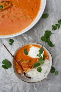 Fish tikka masala in a bowl with rice