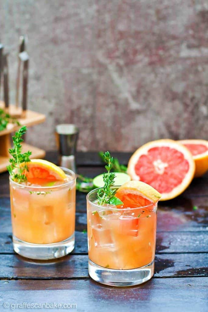 Grapefruit + Thyme Bourbon Smash Cocktail - from Giraffes Can Bake
